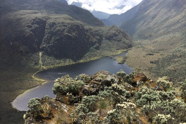 Incredible view of Lake Bujuku in Ruwenzori Mountains