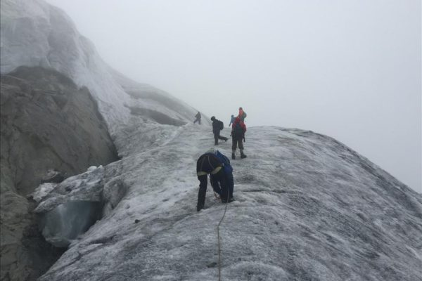 Climbing glacier, Margherita Peak, Summit Day