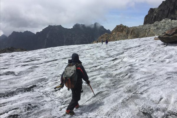 Descending off glacier on Margherita Peak